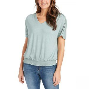 NWT Jessica Simpson Ruched Bottom T-Shirt XS Green